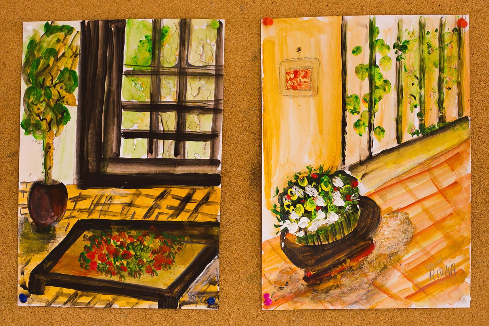 ציורי פרחים עבודת דיירי בית נועם רגבה